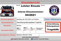 """Einsatz Nr. 04/2021 – """"Unterstützung Rettungsdienst"""""""