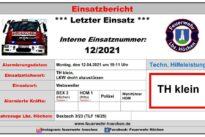 Einsatz Nr. 12/2021 – TH Klein, LKW droht abzustürzen