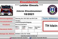 """Einsatz Nr. 18/2021 – TH klein """"Unterstützung bei Bergung"""""""